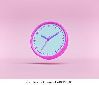 concept of time. analog clock on pastel pink background. minimal design for banner, flyer, poster, web site. 3d rendering