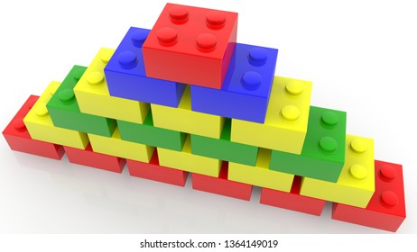 Concept of toy bricks in various colors stacked in pyramid.3d illustration