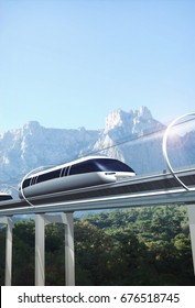 Concept of train moving in a vacuum tunnel across landscape with mountains. Modern transport. 3d rendering illustration