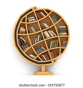 Concept of training. Wooden bookshelf in form of globe. Science about locality. Geography. A human have more knowledge.