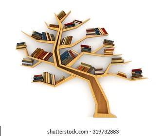 Concept of training. Wooden bookshelf in form of tree. Science about nature. The tree of knowledge. A human have more knowledge.