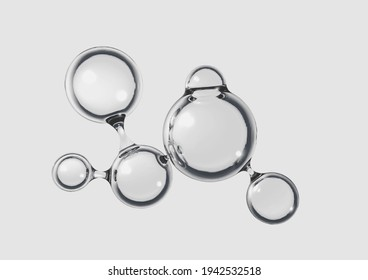 A concept of a transparent liquid molecule on a micro background - 3D render