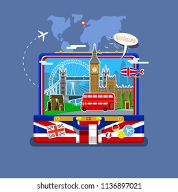 Concept of travel to England or studying English. English flag with landmarks in open suitcase. Flat illustration