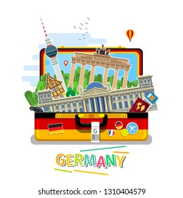 Concept of travel to Germany or studying German. German flag with landmarks in open suitcase. Flat design, travel illustration