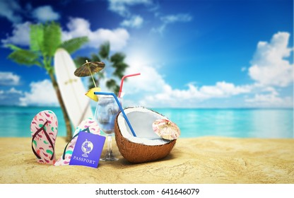 Concept travel to tropical countries Different objects on the beach sand 3d render