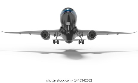 Concept turbojet aircraft rises to take off 3d render on white background with shadow