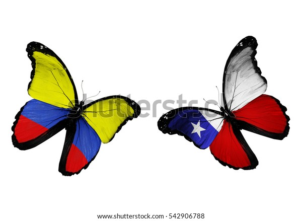 Concept - two butterflies with Colombia and Chile flags flying