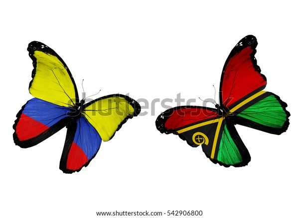 Concept - two butterflies with Colombia and Vanuatu  flags flying
