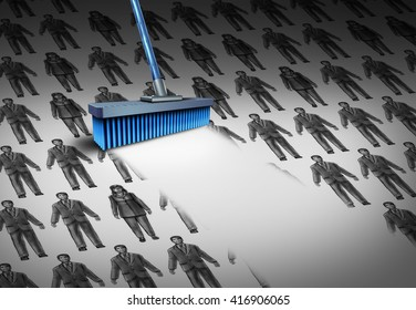 Concept of unemployment and business downsizing symbol as a group of businesswomen and businessmen drawings being swept by a broom as a symbol for employee reduction with 3D illustration elements.