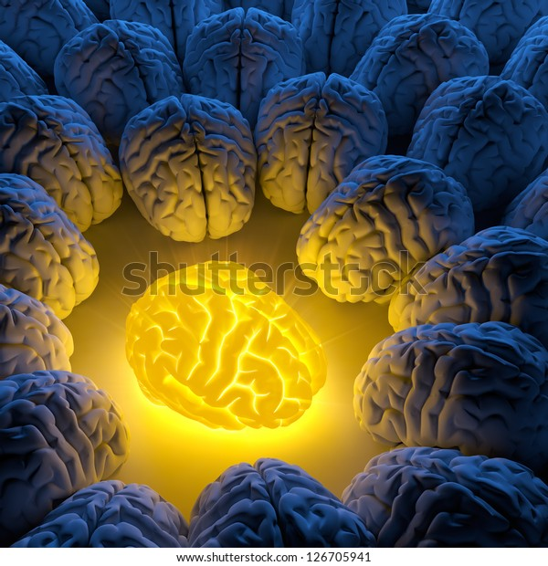 The concept of a unique intelligence and original idea - a brain emits luminous energy, and ordinary brains gathered around