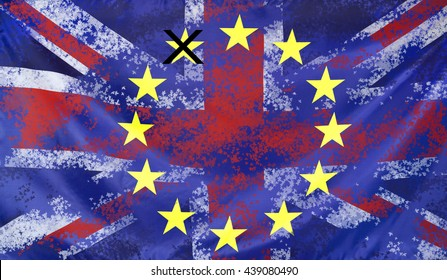 Concept United Kingdom and European Union flags combined for the 2016 Brexit referendum in the UK
