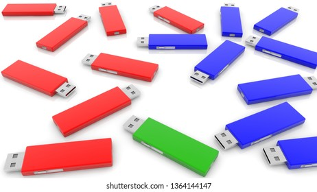 Concept of USB Flash Drives in three colors.3d illustration