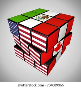 Concept of USMCA or NAFTA Renegotiation as a puzzle cube . 3D Rendering.