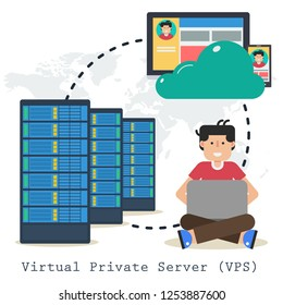 Concept virtual private server -VPS - on white background. Administrator with laptop, computer and web server in flat style