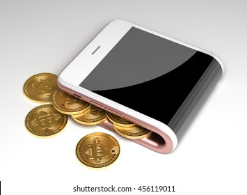 Concept Of Virtual Wallet And Bitcoins. 3D Illustration.
