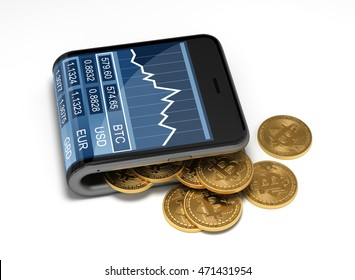Concept Of Virtual Wallet And Bitcoins. Gold Bitcoins Spill Out Of The Curved Smartphone. The Screen Shows A Graph Of The Bitcoin Price Chart And Other Currencies. 3D Illustration.