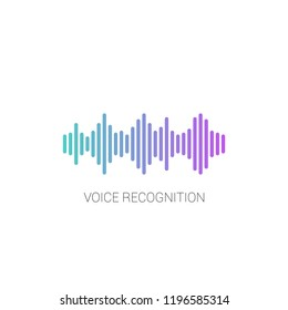 Concept voice recognition. Sound wave on white background.