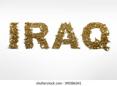 Concept of war in Iraq. Word Iraq typed with font made of bullets on white background.