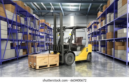 Concept of warehouse The forklift in the big warehouse delivery background 3d illustration