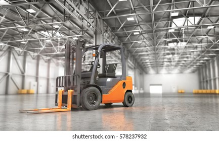 Concept of warehouse. The forklift in the empty big warehouse on blurred background. 3d illustration