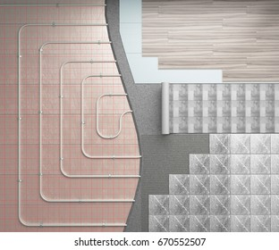 Concept of a warm floor The heating system is laid on the floor with different variants of decorative coatings 3d render