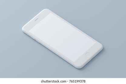 Concept whte iphone on a isolated background. 3d render