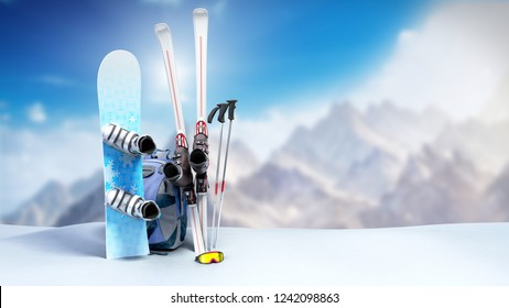 concept of winter tourism snowboarding and skiing in the snow 3d render on mountine background