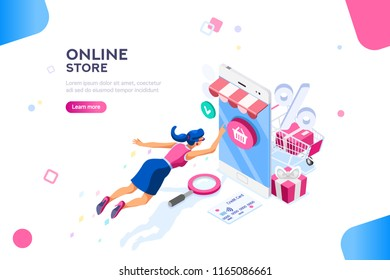 Concept of young buyer online using smartphone items. Consumer and fashion e-commerce, consumerism or sale concept. Characters, text for store. Flat isometric infographic images illustration
