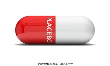conceptual 3d design of false pill.(placebo effect, red version)
