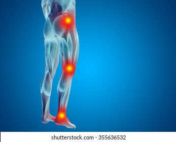 Conceptual 3D human man anatomy lower body or health design, joint or articular pain, ache or injury on blue background for medical, fitness, medicine, bone, care, hurt, osteoporosis arthritis or body