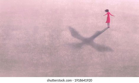 Conceptual 3d illustration, Freedom dream life and hope concept, Imagination artwork ,Woman with flying bird shadow , painting art