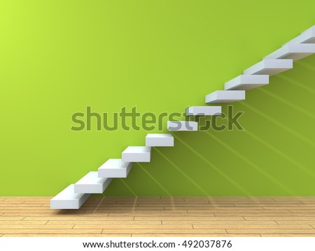 Conceptual 3D Illustration Stair Steps Near A Wall With Floor Background Of  Stone Or Concrete And