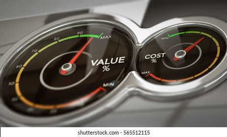 Conceptual 3D illustration of two dials with needles pointing high value and low cost,  horizontal image. Concept of business analysis