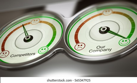 Conceptual 3D illustration of two gauges with text competitors and our company to measure performance,  horizontal image. Concept of business benchmark or comparative advertising