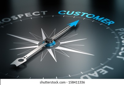 Conceptual 3D render image with depth of field blur effect. Compass with the needle pointing the word customer, Concept of crm and lead conversion.