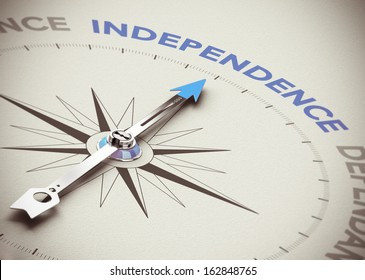 Conceptual 3D render image with depth of field blur effect. Compass needle pointing the blue word independence over natural paper background.
