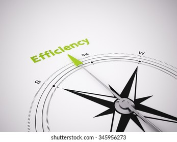 Conceptual 3D render image with a frameless Compass focus on the word efficiency