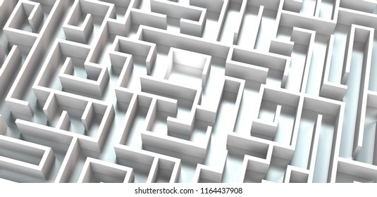 conceptual 3d rendering of a white maze on metallic background