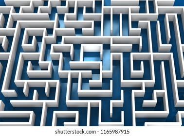 conceptual 3d rendering of a white maze on blue background