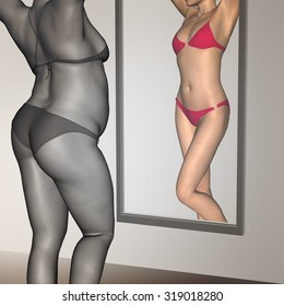 Conceptual 3D woman, girl as fat, overweight vs fit healthy, skinny underweight anorexic female before and after diet over a mirror metaphor to health, nutrition, beauty, body, sport, slimming shape