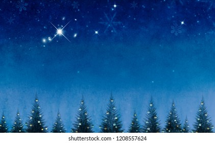 Conceptual abstract christmas background with decorative pine trees against blue night sky.