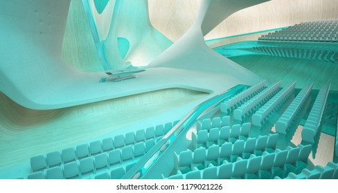 Conceptual abstract design of the interior of the concert hall and grand piano in a modern style. 3D illustration and rendering.