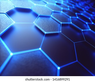Conceptual abstract image with hexagonal structure connection. 3D illustration background. Graphene concept.
