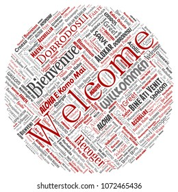 Conceptual abstract welcome or greeting international round circle red word cloud in different languages or multilingual. Collage of world, foreign, worldwide travel translate, vacation tourism
