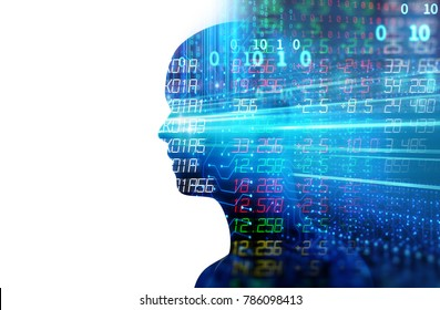 Conceptual background of Artificial intelligence , humans and cyber-business  on programming technology element ,3d illustration