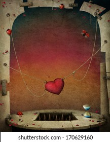 Conceptual background with hearts, illustration or poster.