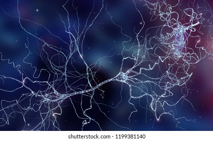 Conceptual background with human brain cells - neurons, high resolution 3D render