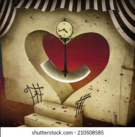 Conceptual background or illustration with  door in the shape of  heart, and  clock pendulum.
