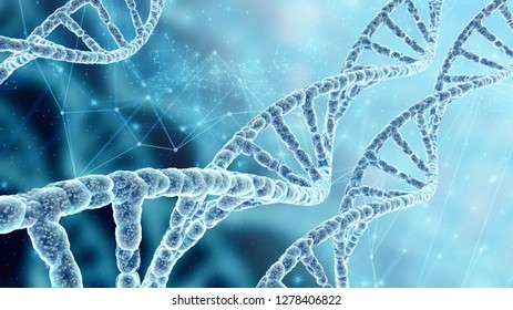 Conceptual background with spiral molecule of DNA in abstract blue space, high resolution 3D render