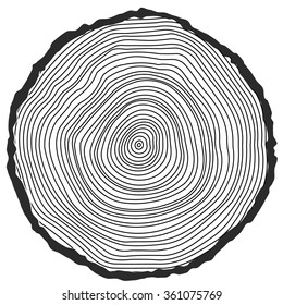 conceptual background with tree-rings. Tree cut Stump Snag.